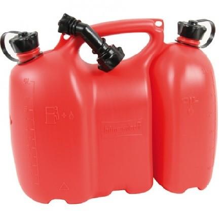 Doppelkanister Profi mit 5,5l und 3l in Farbe rot komplett mit Ausgießer für den Profiforstarbeiter