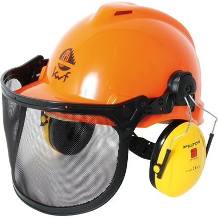 Forsthelm 3M Peltor komplett mit Gehörschutz und Visier mit Drahtgeflecht passend zu allen Arbeiten