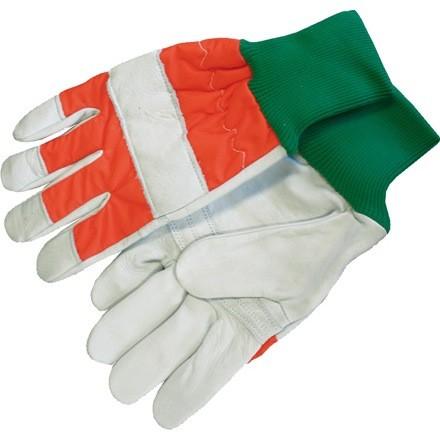 Schnittschutzhandshuhe 1 Packung Farbe grau/orange mit schwarzem Strickbund